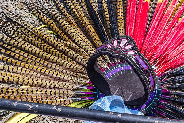 """Uno de los elementos más importantes y llamativos de los 'Danzantes' son las """"coronas"""" o sombreros, adornados con plumas de distintos colores."""